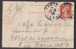 France Postal Stationery Ganzsache Entier Carte-Lettre PARIS DEPART 1909 Semeuse Edit (904) - Ganzsachen