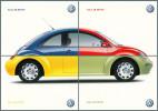 AUTOMOBILISME - PUBLICITÉ : VW [ VOLKSWAGEN ] - NEW BEETLE [ NOUVELLE COCCINELLE ] : PUZZLE De 4 CARTES POSTALES (k-634) - Voitures De Tourisme