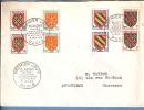 SEINE 75 - PARIS - 1ER JOUR  - 1954 -  TIMBRES BLASONS N° 999 A 1002 PAIRE + N°715 TROIS - 1950-1959