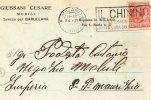 """BUSTA  POSTALE  PUBBLICITARIA-DITTA GIUSSANI CESARE-MOBILI-SEVESO PER BARUCCANA-TIMBRO A TARGHETTA """" IL CHININO,,"""" - 1900-44 Vittorio Emanuele III"""