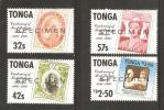 Tonga 1986 Postage Stamp Centenery Set (4) MNH Specimen Overprints  - Stamp On Stamp - Tonga (1970-...)