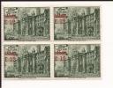 VARIETA´ DENTELLATURA - Vaticano 1952 BASILICHE Soprastampato L.12 Su L.13 Quartina Gomma Integra - Vatican