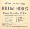 PATES MILLIAT FRERES / DISQUE MICROSILLON 33 T / TRINIDAD - Advertising