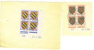VEND TIMBRE N° 1001 + 1002 EN BLOCS DE 4 , COINS DATEES , OBLITERATION SALON DE L ' ENFANCE - PARIS 3 NOVEMBRE 1954 !!!! - 1921-1960: Periodo Moderno