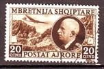 ALBANIA  POSTA AEREA  1939  N. 4  BRUNO  USATO  1 VALORE - Albanie