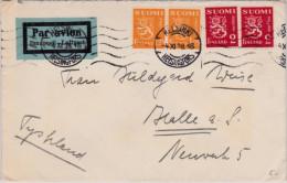 FINLAND - 1938 - ENVELOPPE Par AVION De HELSINKI Pour HALLE (GERMANY) - Airmail