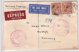 GB - 1934 - ENVELOPPE AIRMAIL EXPRESS De LONDON Pour HALLE - CACHET POSTE AERIENNE De HANNOVER 1 - 1902-1951 (Rois)