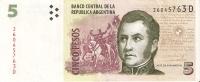 BILLETE DE ARGENTINA DE 5 PESOS SERIE D  (BANKNOTE) - Argentina
