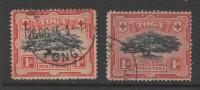 """Tonga    1897    """"1d   Ovava Tree """"   FU   X 2   VFU   (0) - Tonga (...-1970)"""