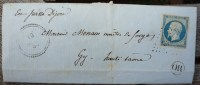 LAC De Montrambert Marque Postale Thervay  Pour Gy Oblitération PC 3342 Sur N°14 Bleu + Cachet OR - 1849-1876: Période Classique