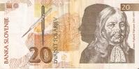 BILLETE DE ESLOVENIA DE 20 TOLARJEV DEL AÑO 1992 SERIE PF  (BANKNOTE) - Eslovenia