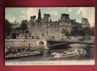 P786 Péniches Sur La Seine Devant Hôtel De Ville Et Pont D'Arcole Paris.Cachet 1910 Vers La Suisse. - Houseboats