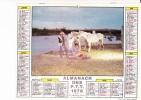 """Almanach Des PTT 1976  """"bivouac En Camargue / Le Berger Et Ses Moutons"""" Gardians, Chevaux, Feu De Bois, JEAN LAVIGNE - Calendriers"""