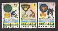 Grenada Scouting, 50th Anniversary Of Girl Guides, 3 Stamps MNH - Scouting