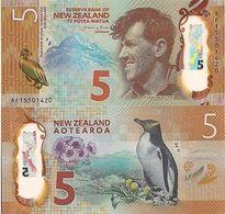 New Zealand $5 2015 Polymer  UNC  Penguin Everest - Nouvelle-Zélande