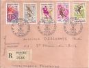 Marcophilie Lettre  Jeux Olympiques Jo Grenoble 1968 Recommandé Vignette - Marcophilie (Lettres)