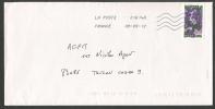 Timbre Autocollant   De Carnet Fleurs - Marcophilie (Lettres)