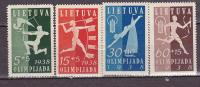 LITUANIE 1938 COMMEMORATION 1ére OLYMPIADE 362 A 365 MNH - Lituanie