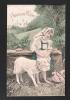 Petite Bergère Et Agneau, Mouton. Couleurs Et Paillettes. Voyagée En 1908. - Pâques