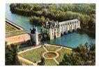 """CHENONCEAUX : """"Vue Aérienne Du Château Sur Le Cher à Gauche La Tour Des Marques Au Premier Plan Le Jardin De Catherine"""" - Chenonceaux"""