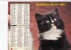 """Almanach Des PTT 1980  """"chat / Petite Fille Et Chaton"""" OBERTHUR - Calendriers"""