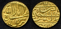 "[DO] INDIA [Impero MOGHUL] - Akbar Jala Ud Din Muham (1556-1605)   MOHUR 977 AH ""Peshawar"" [Oro / Gold /Or] - Indiennes"