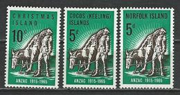 Christmas-Cocos-Norfolk Isl. Scott # 21,7,69 MNH. 50th. Anniv. Of ANZAC. Joint Issue With Australia 1965 - Gemeinschaftsausgaben