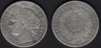 2 Francs Cérès 1872 A  En B+/TB - France