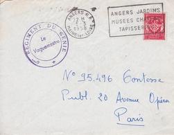 Angers Maine Et Loire 6e Régiment Du Génie Flamme Jardin Musée Château Tapisserie - Marcophilie (Lettres)