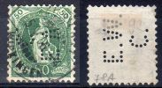 10.5.1905, Stehende Helvetia, 13 Zähne, Weisses Papier, SBK Nr. 90A , Firmenlochung E.V.C. Gestempelt, Los 34591 - Gebraucht