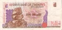 BILLETE DE ZIMBAWE DE 5 DOLARES DEL AÑO 1997 (BANKNOTE-BANK NOTE) - Zimbabwe