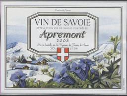 THEME FLEUR étiquette De Vin SAVOIE APREMONT 2008 EDELWEISS GENTIANE - Edelweiss