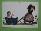Carte Postale ALSACE  Illustrateur HANSI: Je  Promène Ma Petite Soeur - Costumi