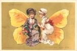 CHROMO DOREE AU BON MARCHE FEMMES PAPILLON  JE VAIS TOUT VOUS DIRE EDITION TESTU ET MASSIN FORMAT 12X8 CM - Au Bon Marché