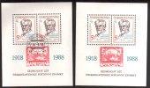 1988 Czech Postage Stamps, 70th Anniv. Scott #2714 - Blocks & Sheetlets