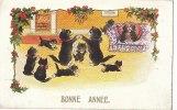 Belle CPA Illustrée BONNE ANNEE En Famille CHATS Nos Petits CHATONS S' Amusent - Cats