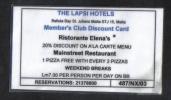 MALTA - HOTEL CLUB CARD   ( THE LAPSI HOTELS 2003  ) - Hotel Keycards