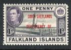 KGVI Falkland Islands South Shetlands SG D2 MH 1944 Black & Violet 1d - Falkland