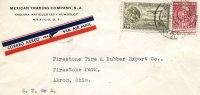 """Mexico- Air Mail Cover- Posted From """"Mexican Trading Company""""/ Mexico City [10.10.1934] To Akron-Ohio/ USA - Mexico"""