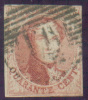 Médaillon 40 Centimes Vermillon, Margé, Obl. Ambulant Centrale M.I. - 7674 - 1858-1862 Medallions (9/12)