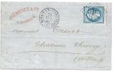 Lettre - Bohain En Vermandois - Beau Cachet 23 11 1866 - Entreprise Frémeaux - Timbre Y&T N°22 - Marcophilie (Lettres)