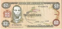BILLETE DE JAMAICA DE 2 DOLLARS DEL AÑO 1993    (BANKNOTE) - Jamaica