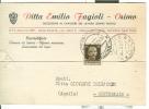 FAGIOLI, OSIMO, CARTOLINA COMMERCIALE VIAGGIATA  1942, PER MONTEREALE  AQUILA, - Ancona