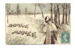 Cp, Nouvel An, Bonne Année, Femme, Voyagée 1909 - Anno Nuovo