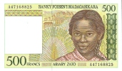 BILLETE DE MADAGASCAR DE 500 FRANCOS  NUEVO-MINT  (BANKNOTE) - Madagascar