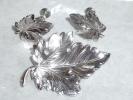 Old Sterling Silver Maple Leaf Screw Back Earrings And Pin Set - Earrings