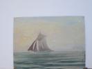 Peinture Huile Pinceau Et Couteau/Voilier En Mer/Non Signé/ Début 20éme              GRAV5 - Non Classés