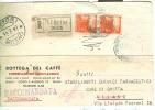 TORREFAZIONE  GIOVANNINI, RIMINI, CARTOLINA  COMMERCIALE VIAGGIATA  1947, RACCOMANDATA PER  AFFORI, - Rimini
