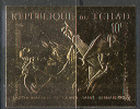 0072 War Painting Battles Horses Napoleon Chad 1v Set MNH ** Gold Golden Imp Imperf 36ME - Napoleon