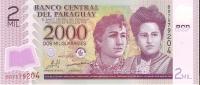 BILLETE DE PARAGUAY DE 2000 GUARANIES DEL AÑO 2009  (BANKNOTE)  NUEV- SIN CIRCULAR - Paraguay